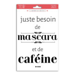 Transfert textile thermocollant Mascara et Caféine 15 x 21 cm