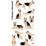 Autocollant 3D Puffies Chiens berger allemand
