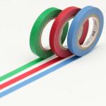 Masking tape uni fins bleu-vert-rouge lot de 3