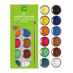 Gouache et pastilles 12 couleurs assorties