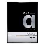 Cadre en aluminium Alpha Noir anodisé Brillant - 24 x 30 cm