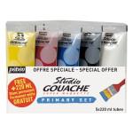 Gouache Studio Set des couleurs primaires 5 x 220 ml
