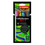 Crayons de couleur Greencolor Set Arty 12 couleurs