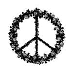 Tampon en bois peace & love 5,8 x 6 cm
